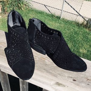 Laser cut leather booties